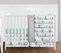 Design Crib Bedding 4 Pc Navy Blue Aqua And Grey Aztec Mountains Baby Boy Or