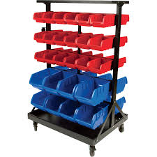 Garage Tool Organizer Rack - performance tool double sided rolling storage rack u2014 52 bins