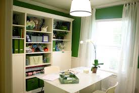 casual home office and home library decoration using white wood