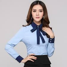 femme de bureau nouveau 2015 printemps automne femme formelle bleu chemises femmes