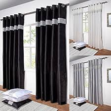 Black Curtains 90x90 Kimberley Black Faux Silk Fully Lined Ready Made 90 X 90 Inch Drop