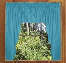 Swag Kitchen Curtains Solid Turquoise Colored Swag Window Valance Optional Center Piece