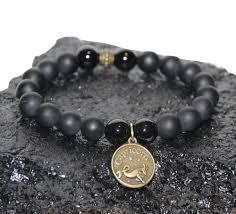 metal bead bracelet images Signs of the zodiac gemini boybeads 10mm black onyx astrology png