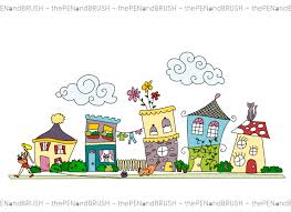 clip art cute houses row of five unique hand drawn houses
