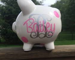 monogrammed piggy bank personalized piggy bank with arrows custom piggy bank baby