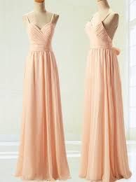 buy a line spaghetti straps backless long peach chiffon prom