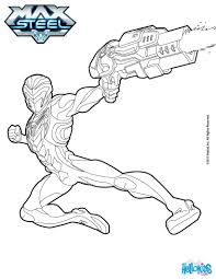 max steel holds gun coloring pages hellokids