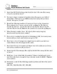 number word problems 3rd grade 3rd 4th grade worksheet lesson