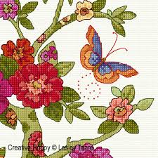 lesley teare designs floral tree cross stitch pattern