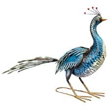 blue peacock garden ornament painted bird outdoor decoration metal