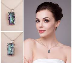 natural topaz necklace images Sterling silver 16ct natural fire rainbow mystic topaz necklace jpg