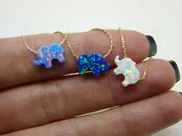 opal earrings necklace images Elephant necklace opal elephant necklace lucky charm jpg