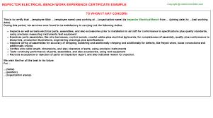 inspector electrical bench work experience certificate