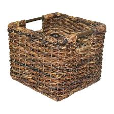 wicker small milk crate dark brown threshold decorative