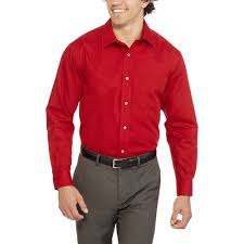 george men u0027s long sleeve poplin dress shirt walmart com