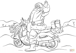 santa on a motorcycle coloring page free printable coloring pages