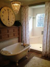 Vintage Style Shower Curtain Vintage Guest Bathroom Ideas With White Acrylic Clawfoot Bathtub