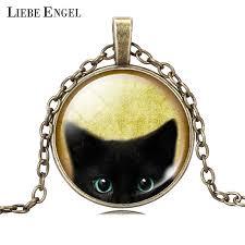 black cat pendant necklace images Unique necklace glass cabochon silver bronze chain necklace black jpg