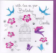 hand painted special auntie birthday card karenza paperie