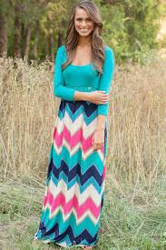 jade blue color block chevron print maxi dress casual dresses