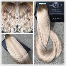 salt and pepper tape in hair extentions ash blonde highlighted tape hair extensions human hair balayage