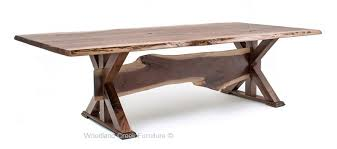 walnut dining table base rustic table live edge table trestle base solid wood