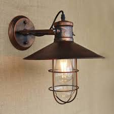 Nautical Wall Sconce Single Light Antique Copper Nautical Led Wall Sconce With Cage