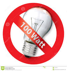 sign ban for old style 100 watt light bulbs stock image image