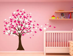 Children Wall Decals Innovative Stencils Butterfly Cherry Blossom Tree Baby Nursery