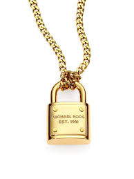 gold lock necklace images Michael kors logo padlock chain link necklace in metallic lyst jpeg