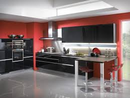 classy red kitchen ideas and black doff cabinet over grey glossy