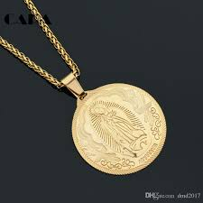 round gold necklace pendant images Wholesale cara new gold color stainless steel rilievo virgin mary jpg