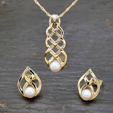 bespoke gold jewellery bespoke yellow gold celtic pendant necklace with a cultured pearl