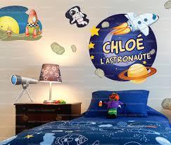 chambre enfant espace stickers personnalisés avec prénom garçon fille sticker mural