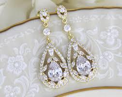 gold bridal earrings chandelier gold bridal earrings etsy
