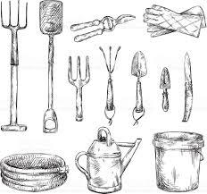 set of gardening tools drawings vector illustrations stock vector