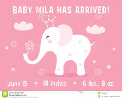 baby girl announcements elephant and clouds baby girl birth announcement card template