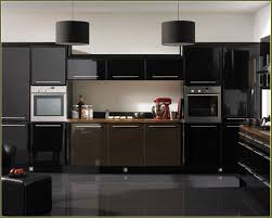 Sleek Kitchen Designs by Sleek Simple Black Kitchen Design With Glossy Cabinet Doors And