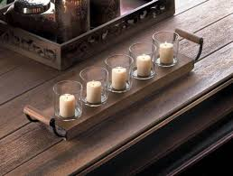 Metal Home Decorating Accents Wooden Tray Candleholder Home Decor Votive Candle Glass Metal