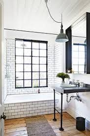 Bathroom Wood Tile Floor Wood Tile Floor White Subway Tile With Dark Grout Black Window
