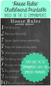 chalkboard printables house rules 10 commandments paraphrase