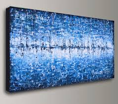 blue and white painting blue abstract painting acrylic art white face paintings impasto sky