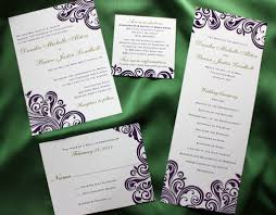 damask wedding invitations purple swirl with green accents damask wedding invitations