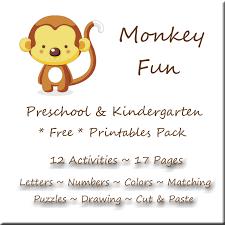 monkey fun printables pack for preschool u0026 kindergarten free
