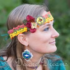 headband across forehead orange and yellow hippie crochet headband dreams