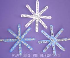 glitter snowflakes popsicle stick ornaments
