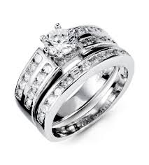 double engagement rings images 925 silver white cz double row engagement band ring set jpg