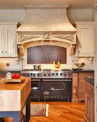 kitchen aged copper hood cover with copper tile backsplash also