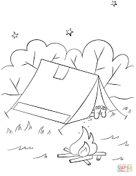 camping scene coloring page free printable coloring pages