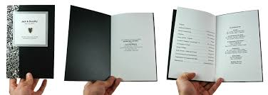 folded wedding program black damask on black metallic wedding program